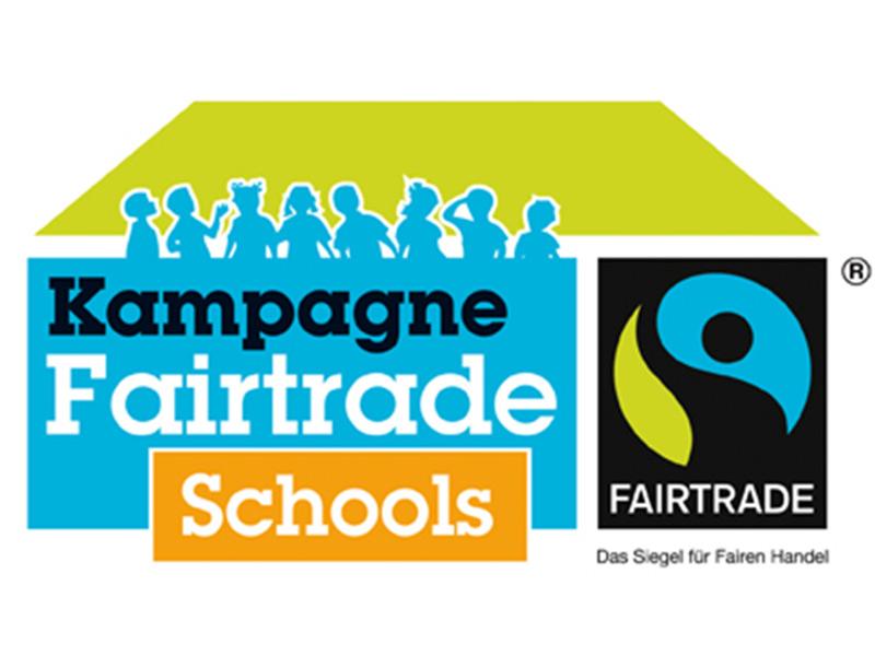 Illustration mit Kindern im Scherenschnitt und den Schriftzügen Kampagne Fairtrade Schools und Fairtrade Siegel