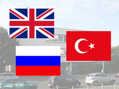 die flaggen grobritanniens russlands und der trkei - Taxi Und Mietwagen Prfung Muster