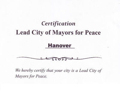 "Ausschnitt aus der Urkunde ""Lead City of Mayors for Peace"""