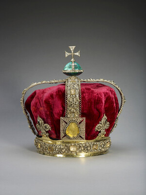 A pompously ornated crown.