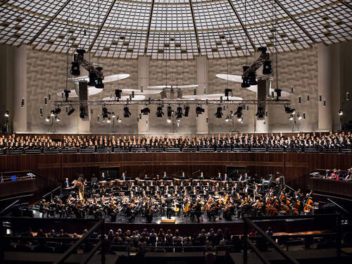 Orchestras and choir in a hall