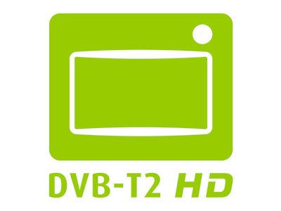 Logo mit der Aufschrift DVB-T2 HD