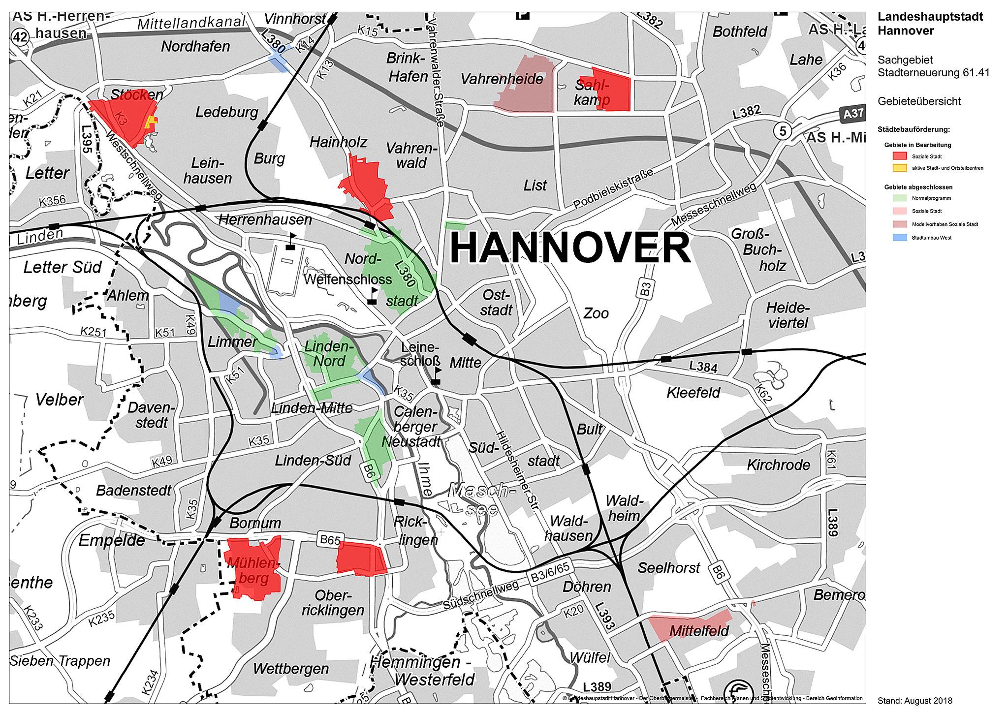 Übersichtskarte über die Fördergebiete in Hannover