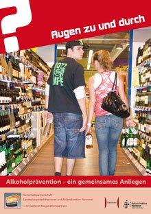"""Plakat zur Alkoholprävention: Motiv Einkaufen """"Augen zu und durch"""""""