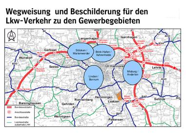 Übersichtsgrafik: Wegweisung und Beschilderung für den Lkw-Verkehr zu Gewerbegebieten