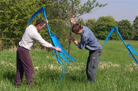 Zwei Männer stellen einen Vogel aus blauem Stahl in einer Wiese auf. Am rechten Rand sieht man einen weiteren Vogel aus blauem Stahl